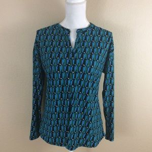 DANA BUCHMAN Geometric Pattern Long Sleeve Top